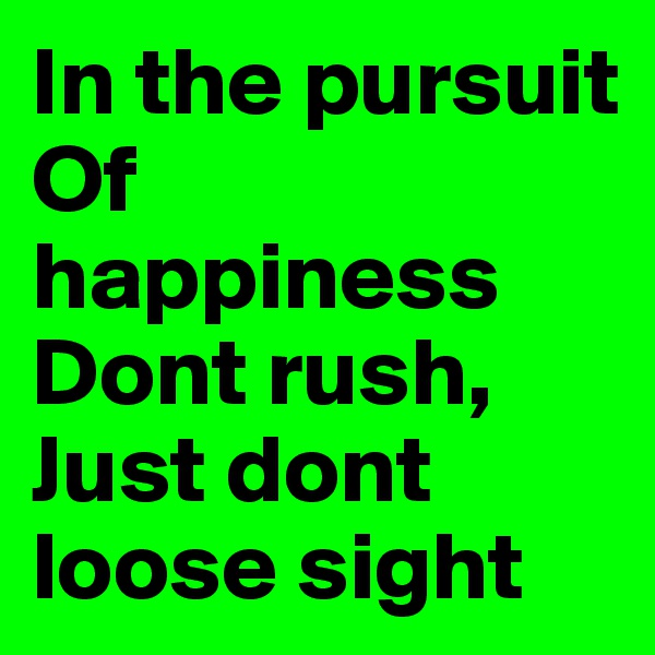 In the pursuit Of happiness Dont rush, Just dont loose sight