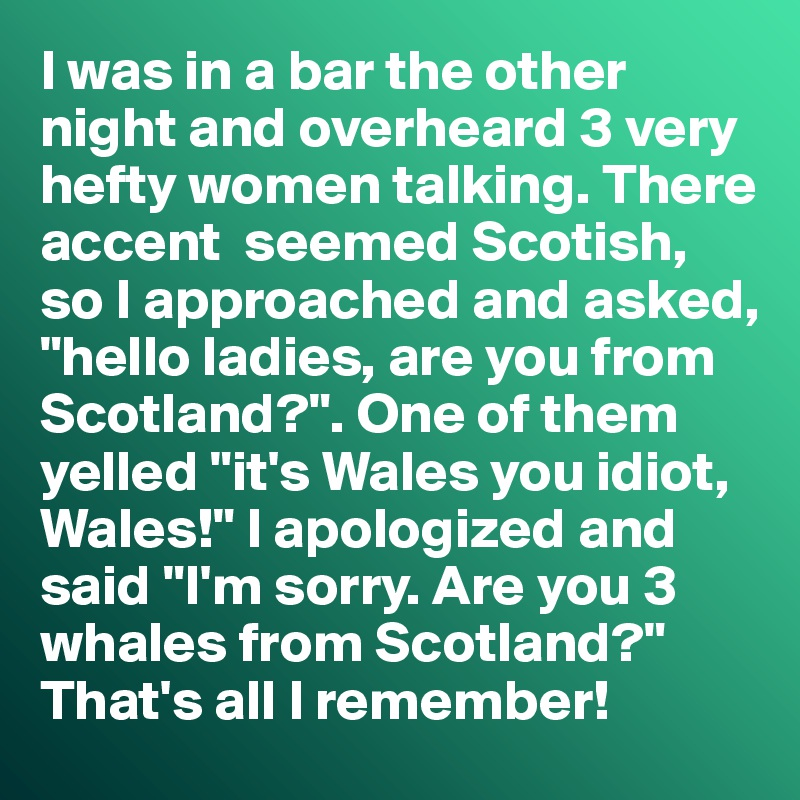 """I was in a bar the other night and overheard 3 very hefty women talking. There accent  seemed Scotish, so I approached and asked, """"hello ladies, are you from Scotland?"""". One of them yelled """"it's Wales you idiot, Wales!"""" I apologized and said """"I'm sorry. Are you 3 whales from Scotland?"""" That's all I remember!"""