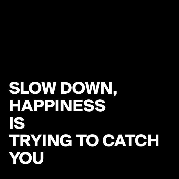 SLOW DOWN, HAPPINESS  IS  TRYING TO CATCH YOU