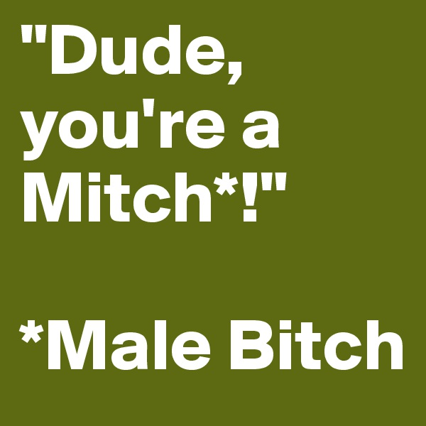 """Dude, you're a Mitch*!""  *Male Bitch"