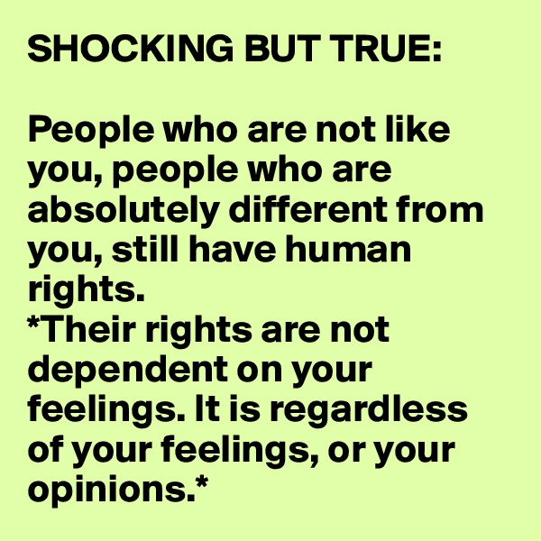 SHOCKING BUT TRUE:  People who are not like you, people who are absolutely different from you, still have human rights.  *Their rights are not dependent on your feelings. It is regardless  of your feelings, or your opinions.*