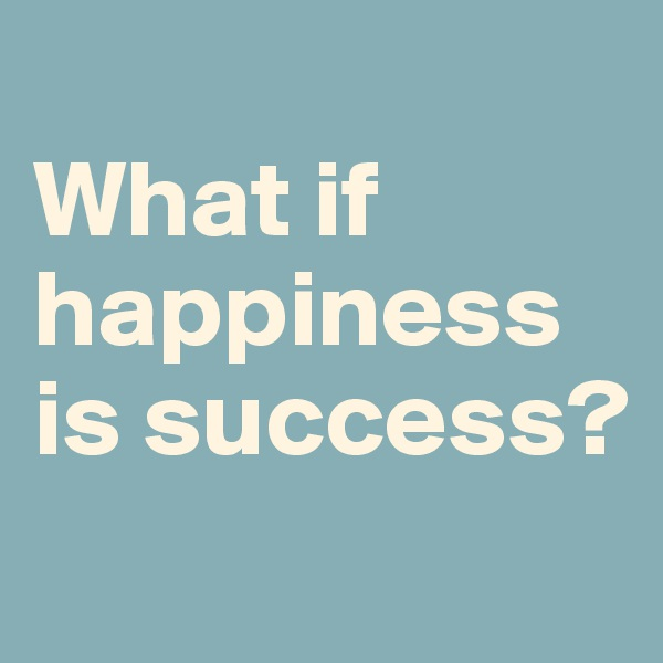 What if happiness is success?