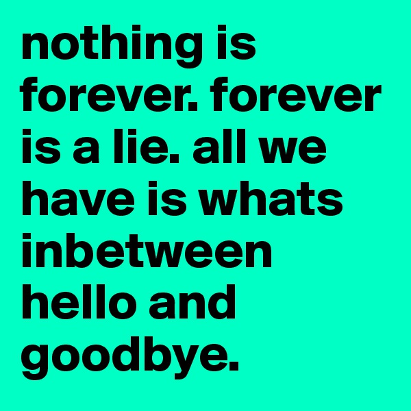 nothing is forever. forever is a lie. all we have is whats inbetween hello and goodbye.