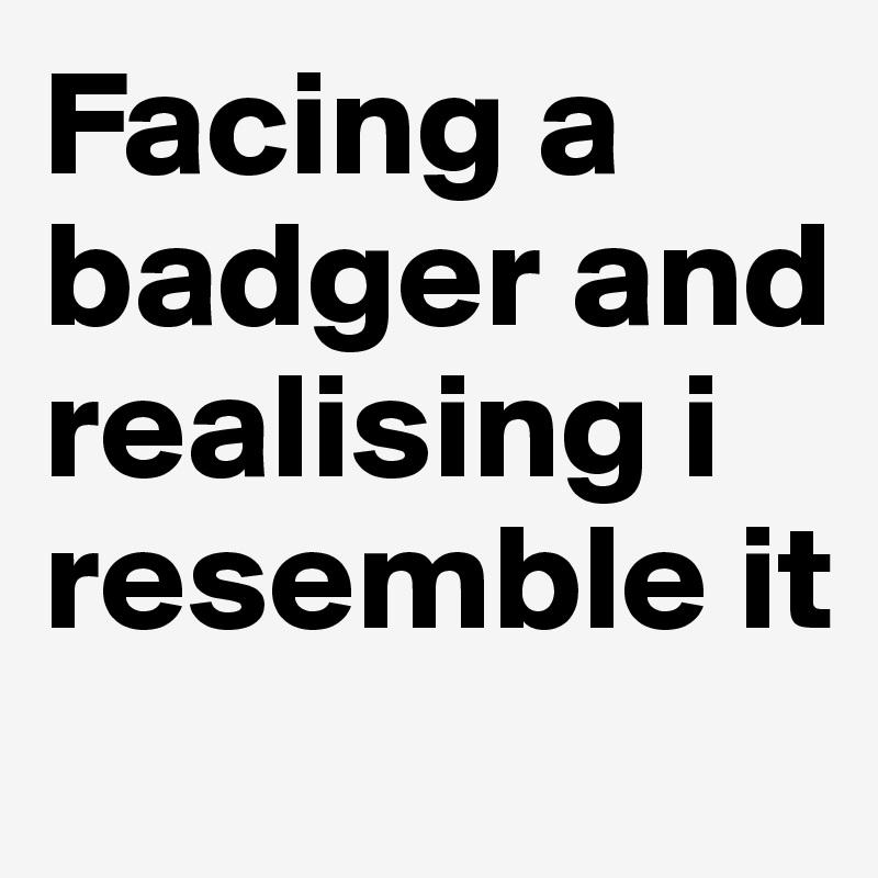 Facing a badger and realising i resemble it