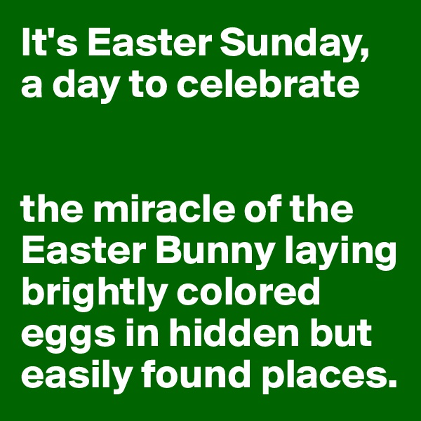 It's Easter Sunday,  a day to celebrate   the miracle of the Easter Bunny laying brightly colored eggs in hidden but easily found places.