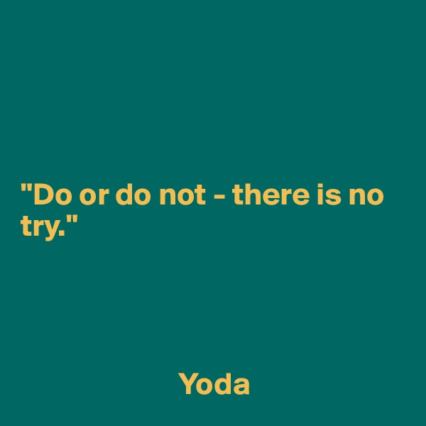 """Do or do not - there is no try.""                               Yoda"