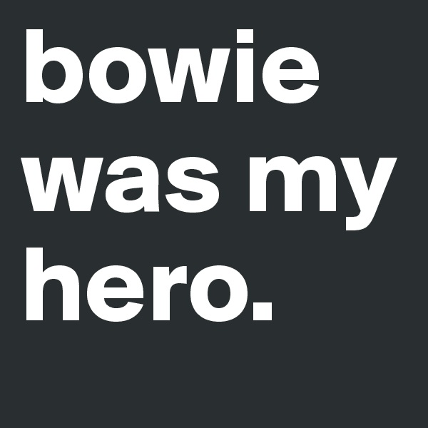 bowie was my hero.