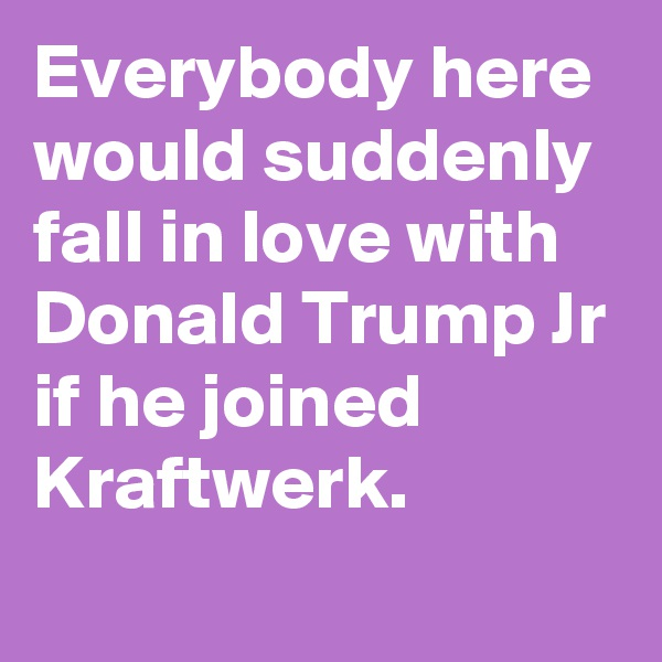 Everybody here would suddenly fall in love with Donald Trump Jr if he joined Kraftwerk.