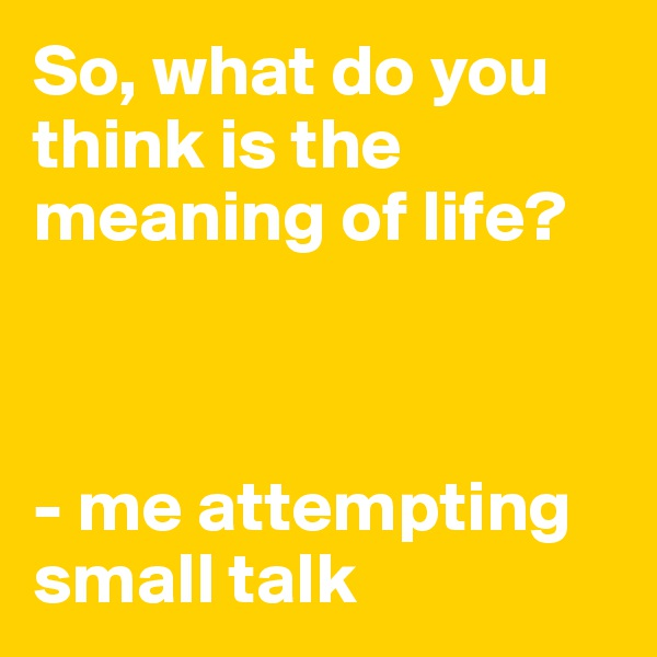 So, what do you think is the meaning of life?    - me attempting small talk