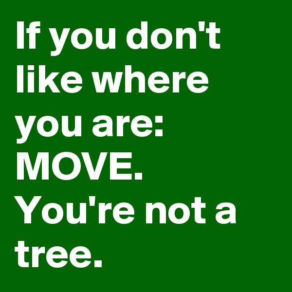 If you don't like where you are: MOVE.  You're not a tree.