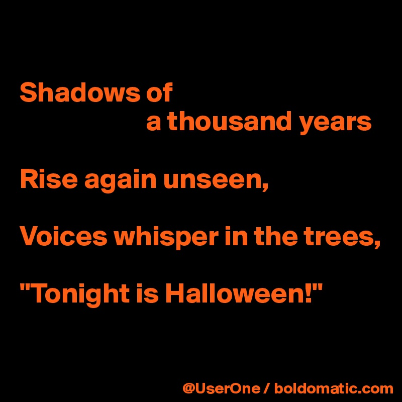 Shadows of a thousand years Rise again unseen, Voices ...