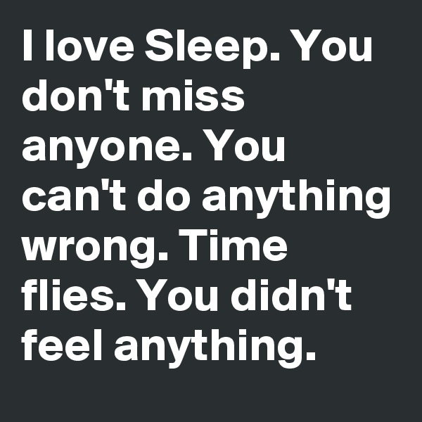 I love Sleep. You don't miss anyone. You can't do anything wrong. Time flies. You didn't feel anything.