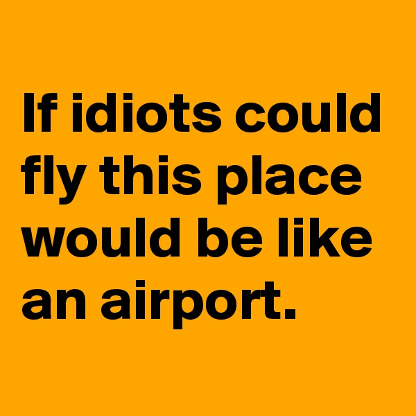 If idiots could fly this place would be like an airport.
