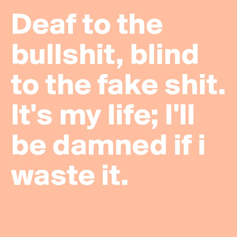 Deaf to the bullshit, blind to the fake shit. It's my life; I'll be damned if i waste it.