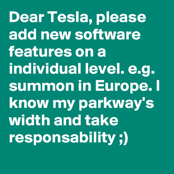Dear Tesla, please add new software features on a individual level. e.g. summon in Europe. I know my parkway's width and take responsability ;)