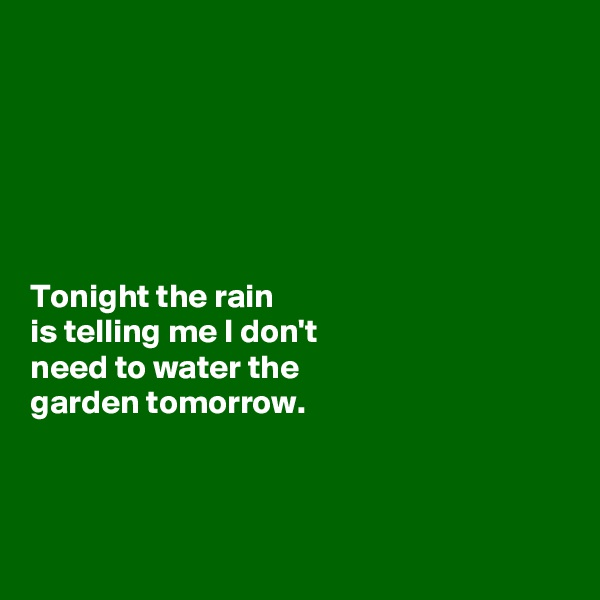 Tonight the rain  is telling me I don't  need to water the  garden tomorrow.
