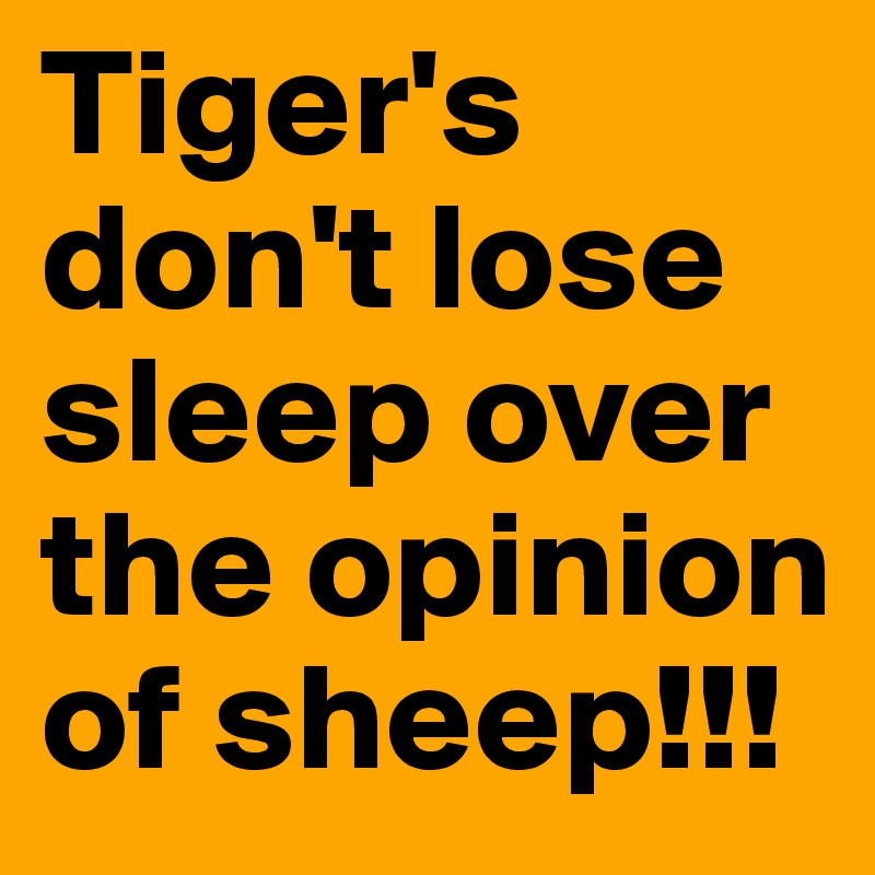 Tiger's don't lose sleep over the opinion of sheep!!!