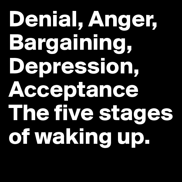 Denial, Anger, Bargaining, Depression, Acceptance The five stages of waking up.