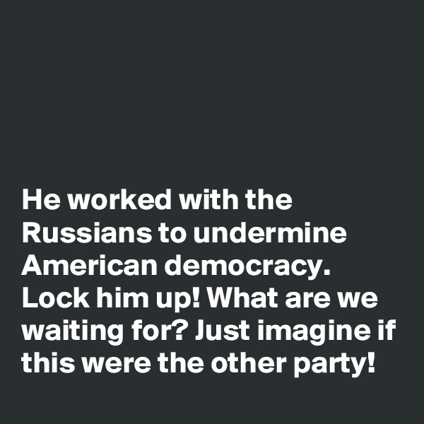 He worked with the Russians to undermine American democracy.  Lock him up! What are we waiting for? Just imagine if this were the other party!