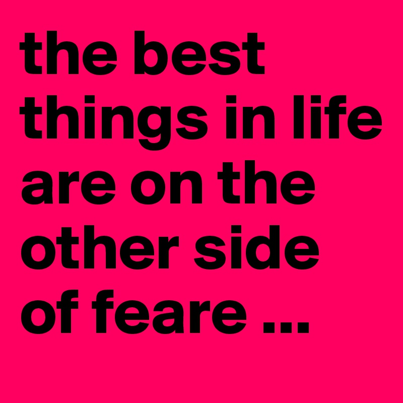 the best things in life are on the other side of feare ...