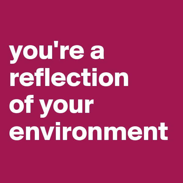 you're a reflection  of your environment