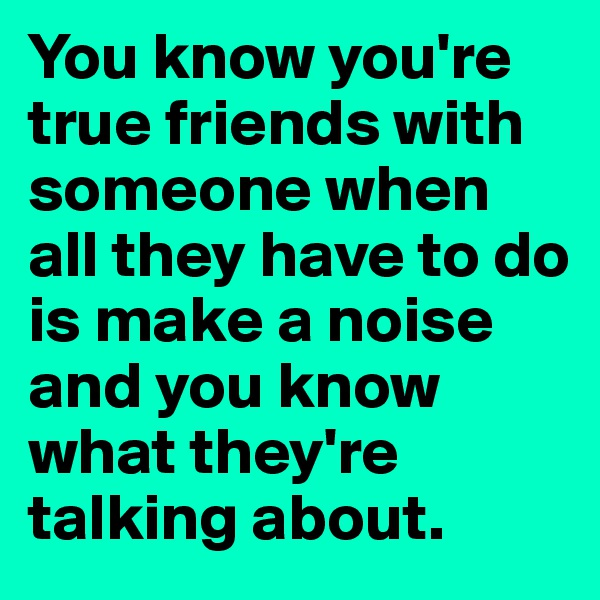 You know you're true friends with someone when all they have to do is make a noise and you know what they're talking about.