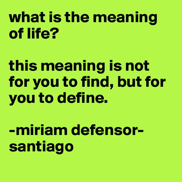what is the meaning of life?  this meaning is not for you to find, but for you to define.   -miriam defensor-santiago