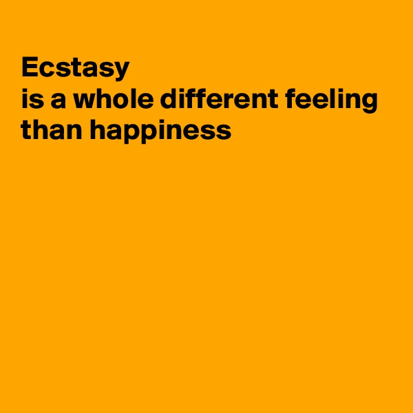 Ecstasy is a whole different feeling than happiness