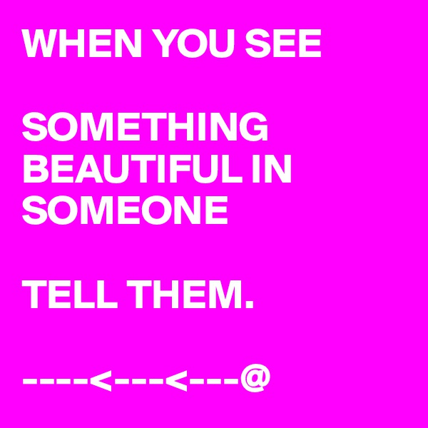 WHEN YOU SEE   SOMETHING BEAUTIFUL IN SOMEONE     TELL THEM.  ----<---<---@