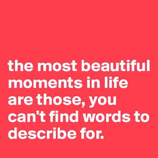 the most beautiful moments in life are those, you can't find words to describe for.