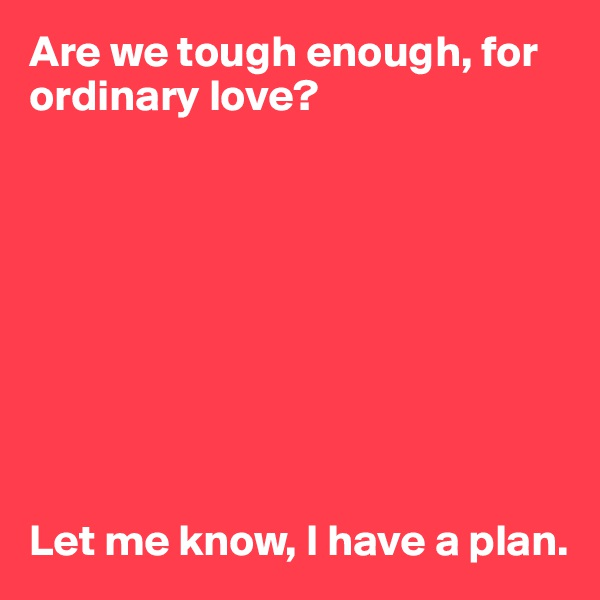 Are we tough enough, for ordinary love?          Let me know, I have a plan.