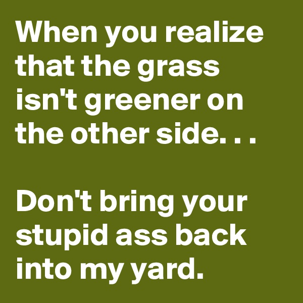 When you realize that the grass isn't greener on the other side. . .  Don't bring your stupid ass back into my yard.