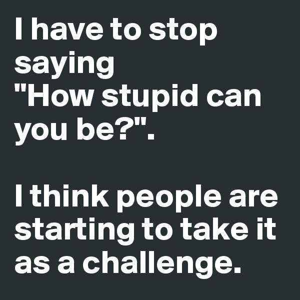 """I have to stop saying """"How stupid can you be?"""".  I think people are starting to take it  as a challenge."""