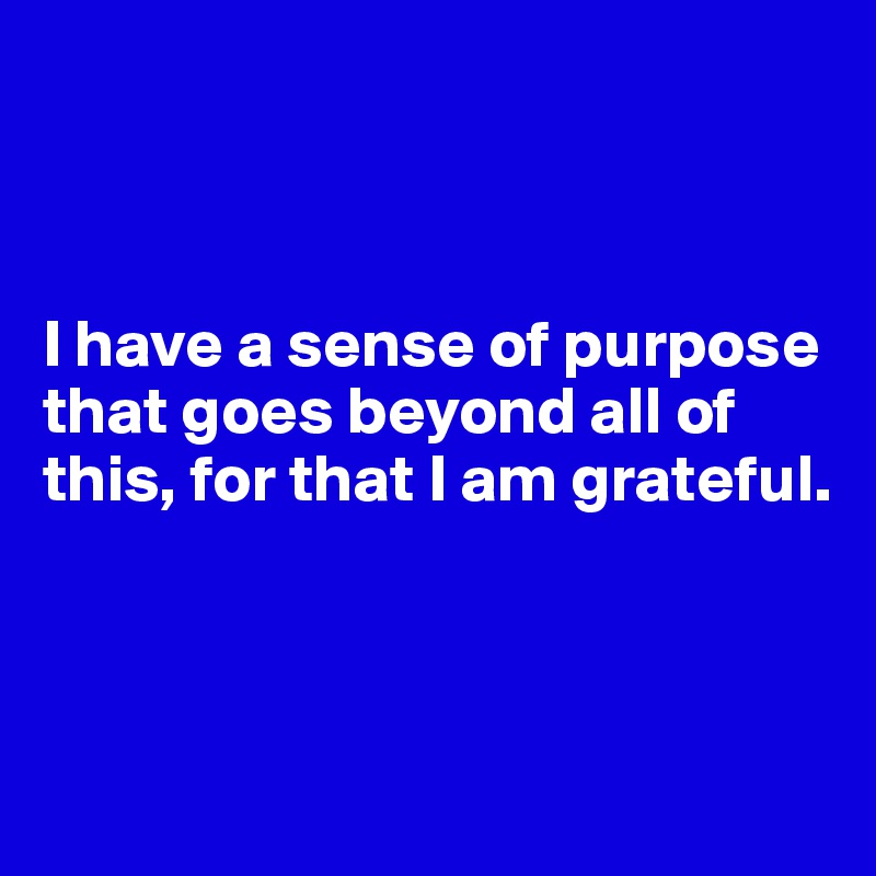I have a sense of purpose that goes beyond all of this, for that I am grateful.