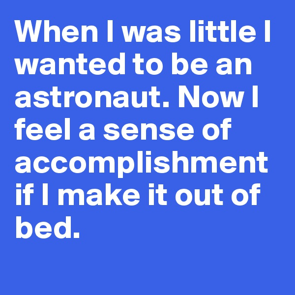 When I was little I wanted to be an astronaut. Now I feel a sense of accomplishment if I make it out of bed.