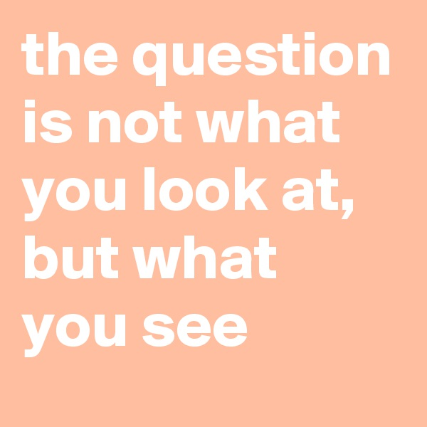 the question is not what you look at, but what you see