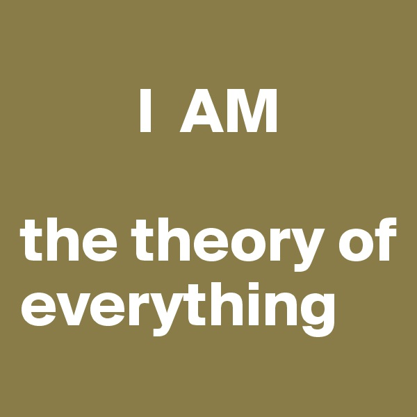 I  AM                        the theory of        everything