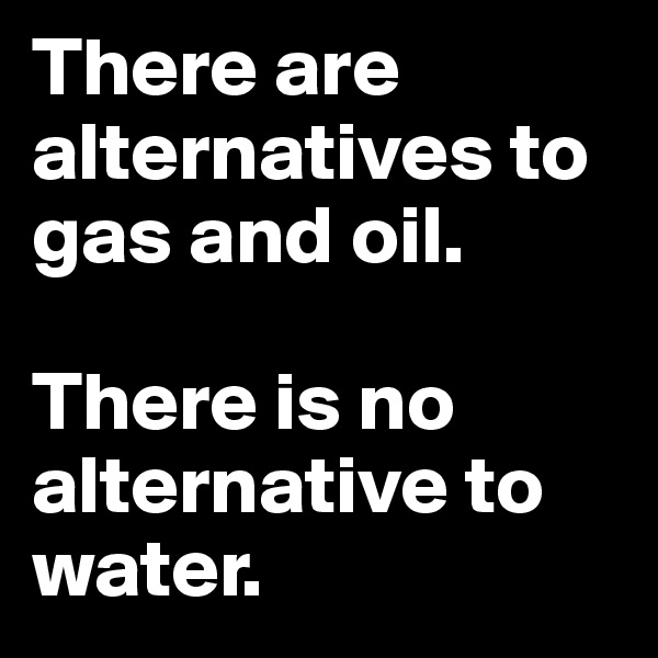 There are alternatives to gas and oil.  There is no alternative to water.