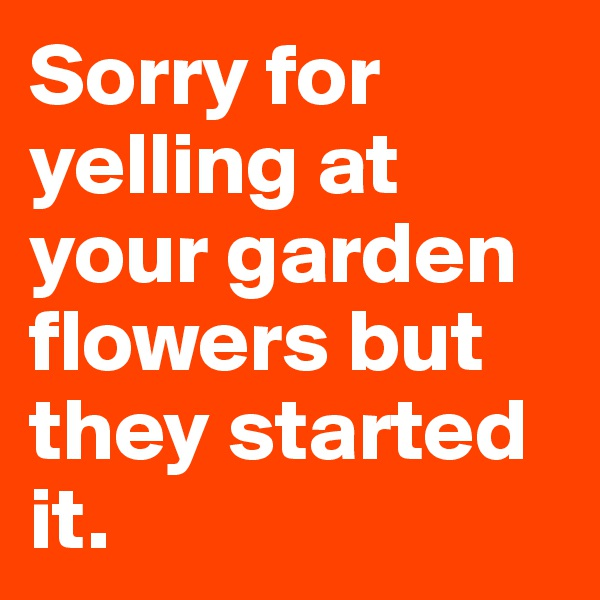 Sorry for yelling at your garden flowers but they started it.