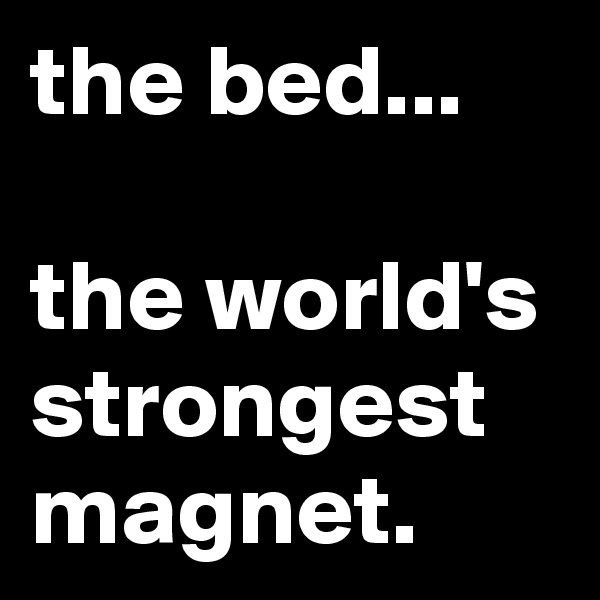 the bed...  the world's strongest magnet.