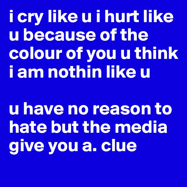 i cry like u i hurt like u because of the colour of you u think i am nothin like u  u have no reason to hate but the media give you a. clue