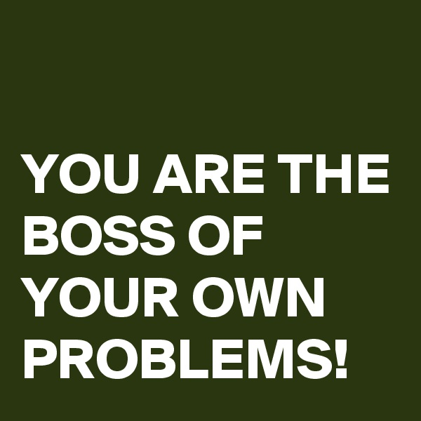 YOU ARE THE BOSS OF YOUR OWN PROBLEMS!