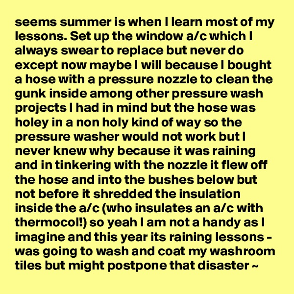 seems summer is when I learn most of my lessons. Set up the window a/c which I always swear to replace but never do except now maybe I will because I bought a hose with a pressure nozzle to clean the gunk inside among other pressure wash projects I had in mind but the hose was holey in a non holy kind of way so the pressure washer would not work but I never knew why because it was raining and in tinkering with the nozzle it flew off the hose and into the bushes below but not before it shredded the insulation inside the a/c (who insulates an a/c with thermocol!) so yeah I am not a handy as I imagine and this year its raining lessons - was going to wash and coat my washroom tiles but might postpone that disaster ~