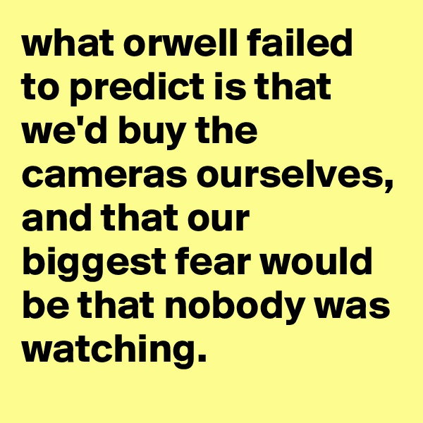 what orwell failed to predict is that we'd buy the cameras ourselves, and that our biggest fear would be that nobody was watching.