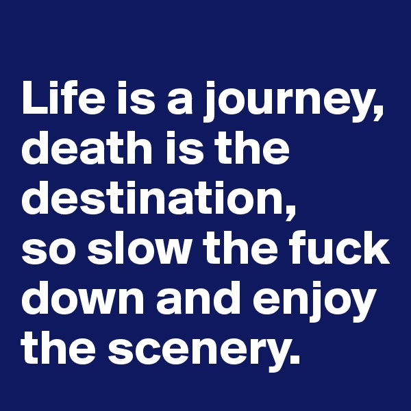 Life is a journey, death is the destination,  so slow the fuck down and enjoy the scenery.