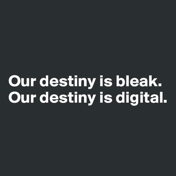 Our destiny is bleak. Our destiny is digital.