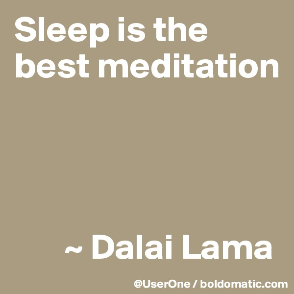 Sleep is the best meditation            ~ Dalai Lama