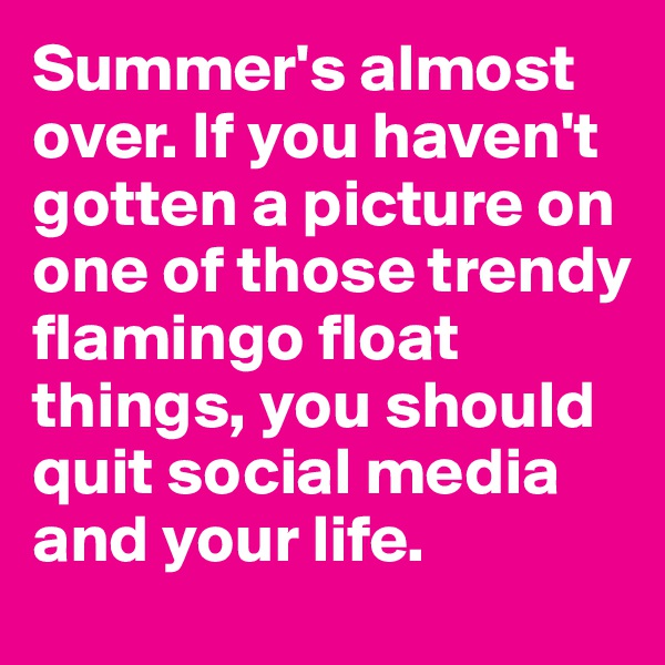 Summer's almost over. If you haven't gotten a picture on one of those trendy flamingo float things, you should quit social media and your life.