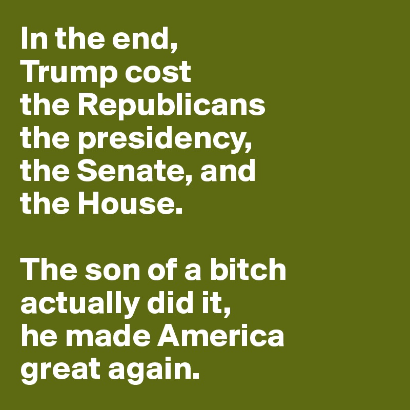 In the end, Trump cost  the Republicans  the presidency,  the Senate, and  the House.  The son of a bitch  actually did it, he made America great again.
