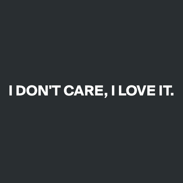 I DON'T CARE, I LOVE IT.